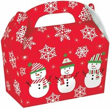 5 Count Christmas Snowman Design Red Large Cardboard Gable Gift Boxes