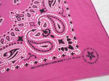 VTG Antique BRIGHT PINK MADE IN USA Cotton Biker BANDANA Handkerchief 20x20