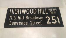 """London Linen Bus Blind Jan78 36""""- 251 Highwood Hill Rising Sun Lawrence Street"""
