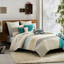 KAS AUSTRALIA Twin Duvet Cover, ANNELIE, Teal, Grey, White, Embroidered, NEW
