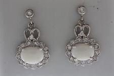 14k SOLID WHITE GOLD DANGLE DROP OVAL OPAL DIAMONDS EARRINGS