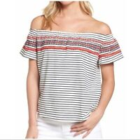 THML Stitch Fix Women's Embroidered Off Shoulder Top Medium SF266 Striped NEW