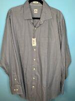 NWT Peter Millar Mens XL Long Sleeve Button Shirt Brown Blue Houndstooth Cotton