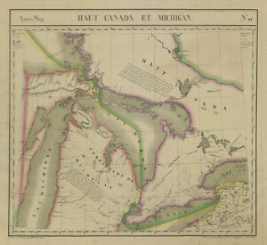 Amér. Sep. Haut Canada et Michigan #42 Great Lakes Ontario VANDERMAELEN 1827 map