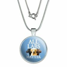 """All Labs Matter Labrador Dogs 1"""" Pendant with Sterling Silver Plated Chain"""