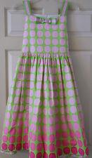 Girls 16 XL Long Dress BONNIE JEAN Sleeveless Green With Pink Polka Dot