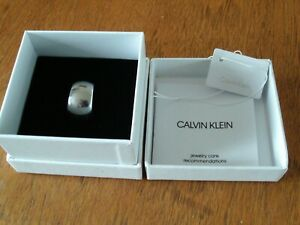 CALVIN KLEIN UNISEX OPEN FRONT BAND RING SIZE O STAINLESS STEEL