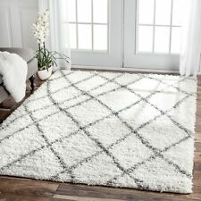 nuLOOM Soft Plush Moroccan Trellis White Easy Shag Rug 6'7 x 9' Area Carpet Room
