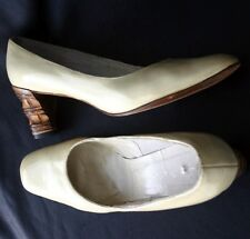 BISCAYNE EAST Patent Leather Carved Bamboo Heel Pumps 60s