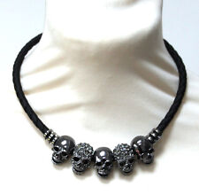 Butler and Wilson 5 Crystal Pewter Tone Skull Leather Cord Magnetic Necklace NEW