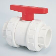 "SWIMMING POOL/POND 1.5"" DOUBLE UNION BALL VALVE PIPE FITTINGS WHITE"