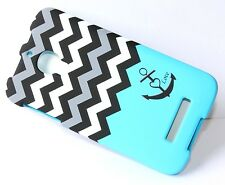 Alcatel One Touch FIERCE 7024W - HARD SKIN CASE BLUE GREY BLACK CHEVRON ANCHOR