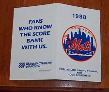 New York Mets pocket schedule 1988 Mbl # 3