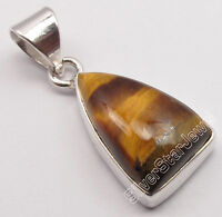 "925 Sterling Silver BROWN TIGER'S EYE BESTSELLER Pendant JEWELRY 1.1"" UNISEX"