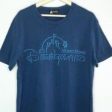 Hong Kong Disneyland Adult T-Shirt Embroidered Castle Blue Tee Disney Parks XL