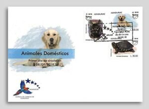 Honduras. Domestic Animals, dog, cat & turtle, UPAEP-2018, First Day Cover. FDC
