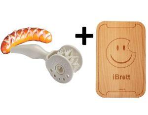 CARACT Wurstroller BBQ Grill Wurst Ritzer Tool + iBrett Schneidebrett Essbrett