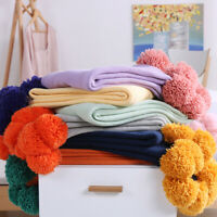130x160cm Knitted Sofa Bed Throw Blanket Pom pom Ball Office Nap Blankets Cover