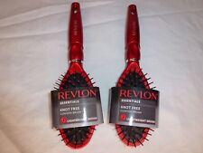 Lot of 2 Revlon Essentials Knot Free Cushion Hair Brush (es) - Red - Lightweight
