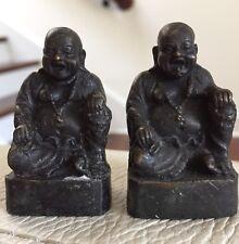 Lot of 2 Small Budha Miniature Meditation Statues Figurines