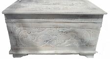 Shabby chic floral design chests,trunk,ottoman with Lotus carving.