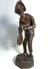 """RARE ANTONIO ZEPPELLINI OLD ASIAN MAN HAND CARVED WOOD SCULPTURE SIGNED 14"""" H"""