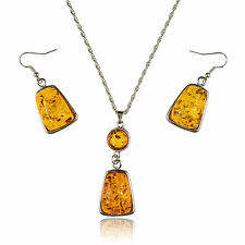 """Faux Orange Amber White Gold Plated 2"""" Pendant + 21"""" Chain Necklace + Earrings"""
