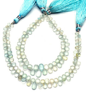 "Natural Gem Aquamarine Rough Unpolished 5x3 to 8x6mm Size Pear Shape Beads 8"""