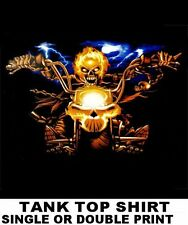 FLAMING GHOST SKULL MOTORCYCLE RIDER BIKER V-TWIN CHOPPER TANK TOP SHIRT XT15