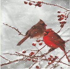 2 Serviettes en papier Oiseau Cardinal Paper Napkins Bird on snowy Branch