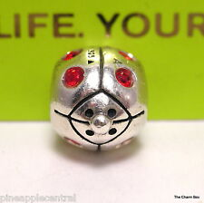 GENUINE CHAMILIA SILVER & RED CUBIC ZIRCONIA LADYBIRD/BUG INSECT CHARM - JA-66