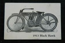 "1913 ""BLACK HAWK"" MOTORCYCLE POSTCARD UNUSED INDIAN THOR BSA HARLEY DAVIDSON"