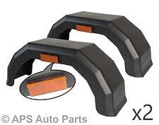 """2x 10"""" Inch Black Plastic Mudguards Arch Wheel Trailer Van Caravan + Reflector"""