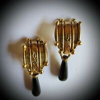NEW! VINTAGE IXEL, HAND-CRAFTED - ARTISAN CLIP EARRINGS - ONYX DROPS