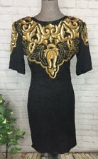 NEW Silk Beaded Dress Royal Feelings Sample Black Gold Sequin Medium