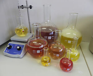 Flat-Bottom Round Flasks - borosilicate glass - boiling flasks - 50 to 500 ml
