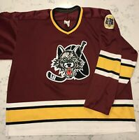 Vintage Bauer Hockey Jersey IHL Chicago Wolves Mens Sz Medium Embroidered Patch