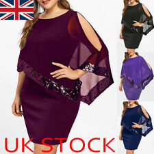 UK Women's Sequin Cape Christmas Party Cocktail Xmas Mini Dress Plus Size 12-22