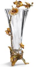 RORO Enameled & Jeweled Crystal Lily Vase Centerpiece