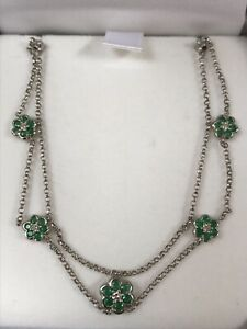 FINE 18CT WHITE GOLD EMERALD & DIAMOND FLOWER SWEEPING DROP NECKLACE