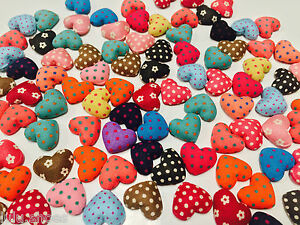 Craft HEART BUTTONS -fabric covered, polka dot / floral, flat back - 17 mm