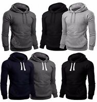 New Mens Plain Fleece Hooded Hoodies Casual Gym Workwear Top Jumper Sweatshirt P