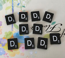 10 (TEN) Letter D, Black  Scrabble Tiles Letters, Individual, A to Z in Stock!