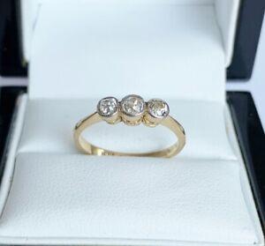 Antique Art Deco Vintage 18ct Gold & Platinum - 0.43 Carat Diamond Trilogy Ring
