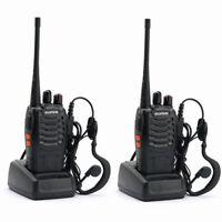 2x Baofeng BF 888S + Earpiece UHF 400-470MHz Portable 2-way Radio Walkie Talkie