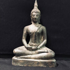 Antique Asia Thailand Shakyamuni Buddha Statue Bronze Meditation 17th c Relic