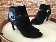 Marc Fisher Black Suede Shimmee Peep-Toe Ankle Boots Bootie NEW