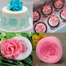 New Silicone 3D Rose Flower Fondant Cake Chocolate Sugarcraft Mould Mold Tool