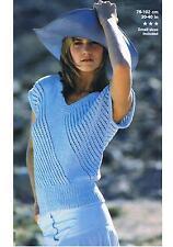 Knitting pattern Ladies Summer V Neck Top Diagonal Design PATTERN ONLY ±pat87