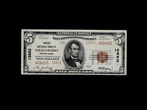 1929 Type 2 Wilkes-Barre Pennsylvania $5 National Banknote Charter 13852 VF
